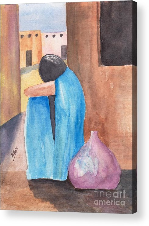 Southwest Acrylic Print featuring the painting Weeping Woman by Susan Kubes