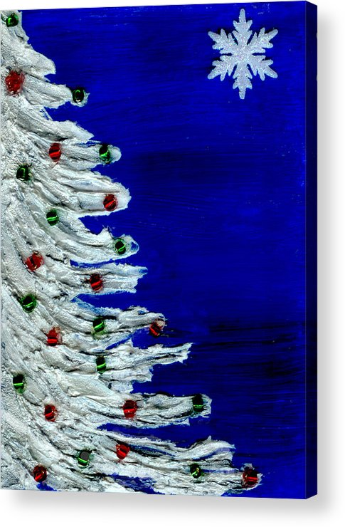 Christmas Acrylic Print featuring the painting White Christmas Tree by BlondeRoots Productions