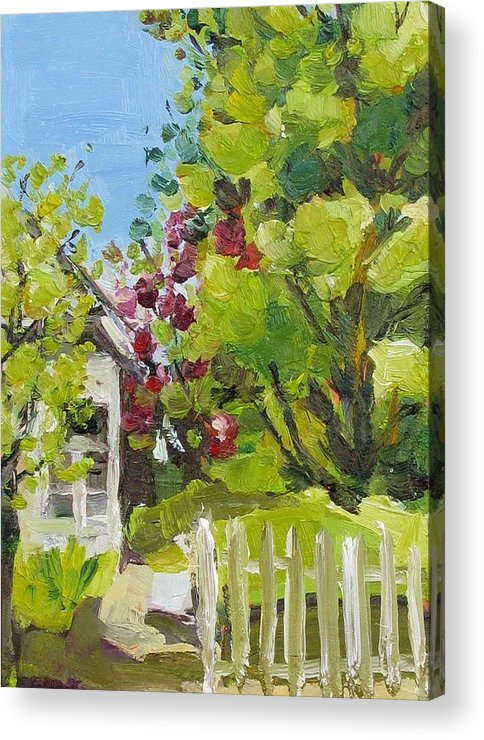 White Picket Fence Acrylic Print featuring the painting White Picket Fence by Coral May Barclay