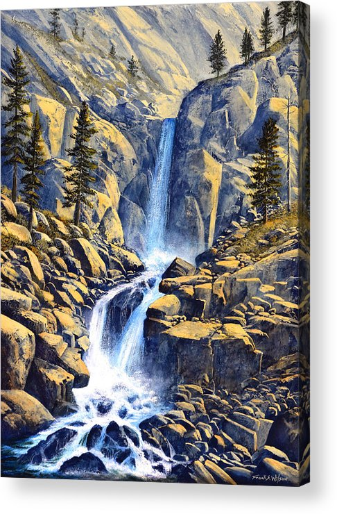 Wilderness Waterfall Acrylic Print featuring the painting Wilderness Waterfall by Frank Wilson