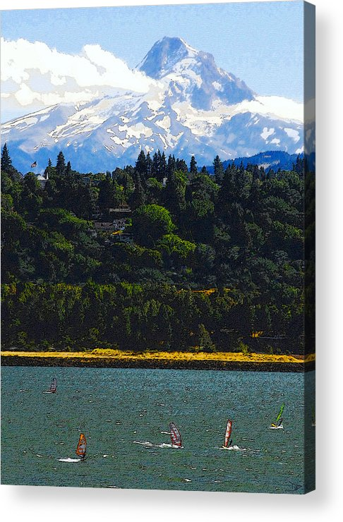 Art Acrylic Print featuring the painting Wind Surfing Mt. Hood by David Lee Thompson