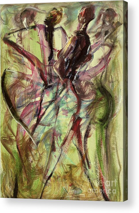 Female Acrylic Print featuring the painting Windy Day by Ikahl Beckford