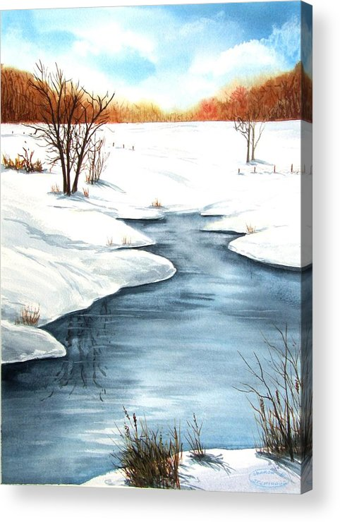 Original Watercolour Acrylic Print featuring the painting Winter Memories by Sharon Steinhaus