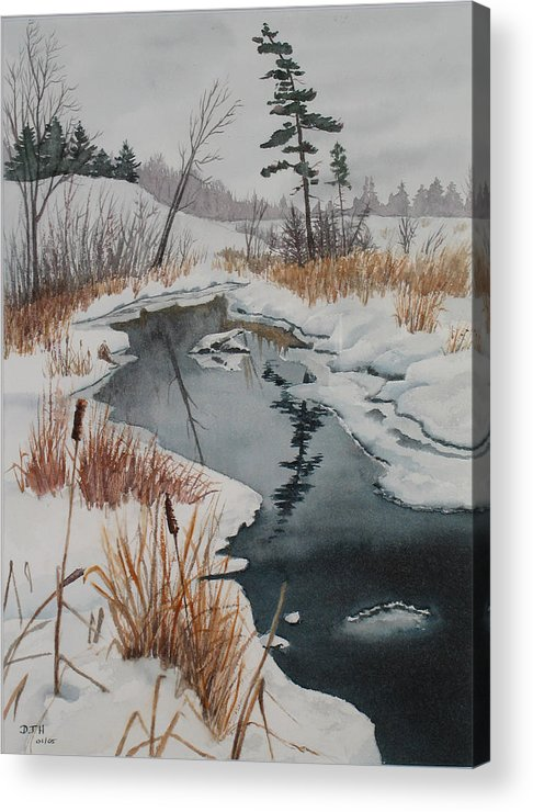 Winter Acrylic Print featuring the painting Winter Reflection by Debbie Homewood