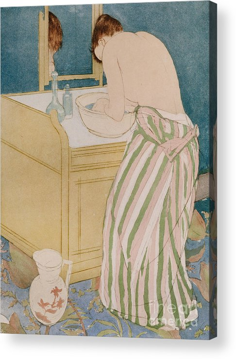 Woman Bathing Acrylic Print featuring the painting Woman Bathing by Mary Stevenson Cassatt