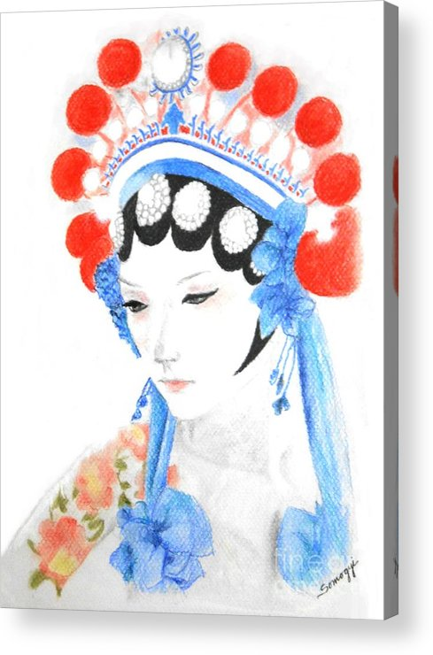 Chinese Acrylic Print featuring the drawing Woman From Chinese Opera With Tattoos -- The Original -- Asian Woman Portrait by Jayne Somogy
