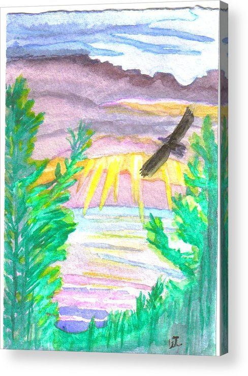 Landscape Acrylic Print featuring the painting Wooded Sunset by Warren Thompson
