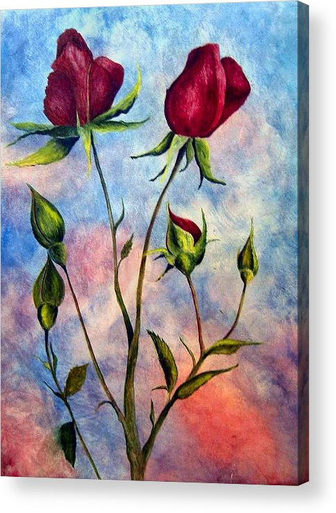 Rose Acrylic Print featuring the painting Woop Woop Rose by JoLyn Holladay