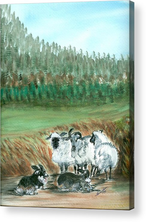 Dogs And Sheep Acrylic Print featuring the painting Working Girls by Laura Johnson