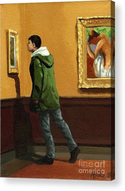 Artwork Acrylic Print featuring the painting Young Man Viewing Art - Painting by Linda Apple