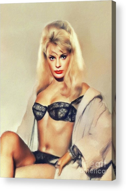 Elke Acrylic Print featuring the painting Elke Sommer, Vintage Actress by John Springfield