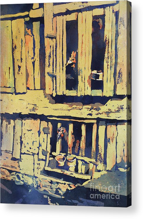 Animal Art Acrylic Print featuring the painting Caged Roosters- Peru by Ryan Fox