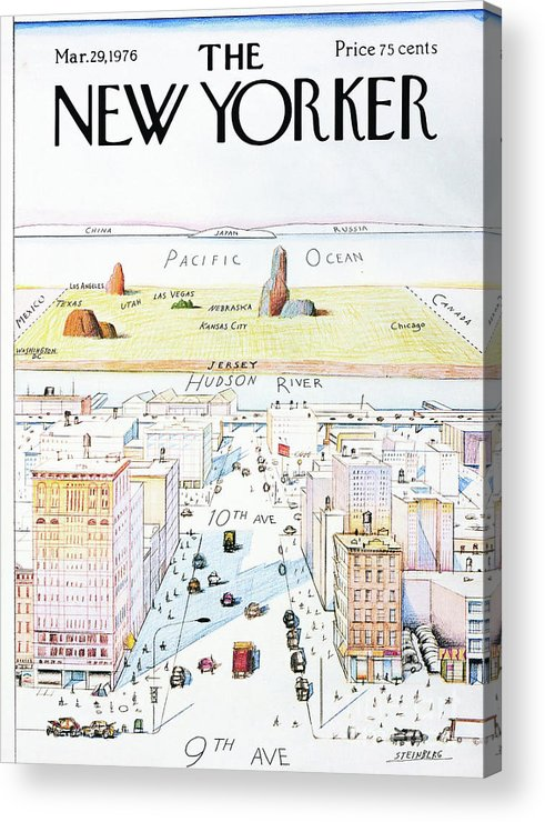 The New Yorker Acrylic Print featuring the painting The New Yorker - March 29, 1976 by Saul Steinberg
