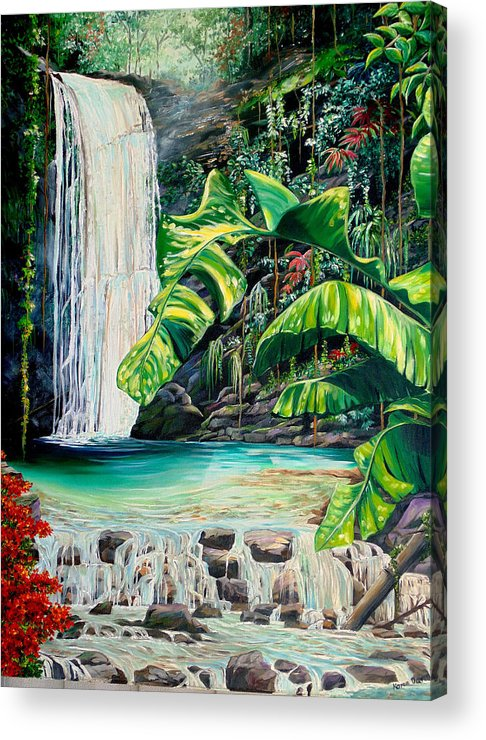 Water Fall Painting Landscape Painting Rain Forest Painting River Painting Caribbean Painting Original Oil Painting Paria Northern Mountains Of Trinidad Painting Tropical Painting Acrylic Print featuring the painting Rainforest Falls Trinidad.. by Karin Dawn Kelshall- Best