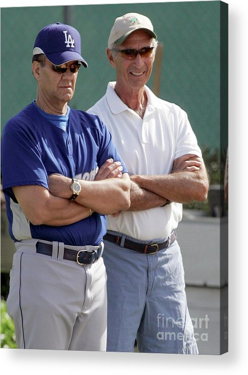 Sandy Koufax Acrylic Print featuring the photograph Sandy Koufax And Joe Torre by Icon Sports Wire
