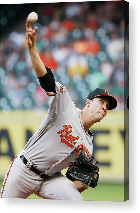 American League Baseball Acrylic Print featuring the photograph Ubaldo Jimenez by Scott Halleran