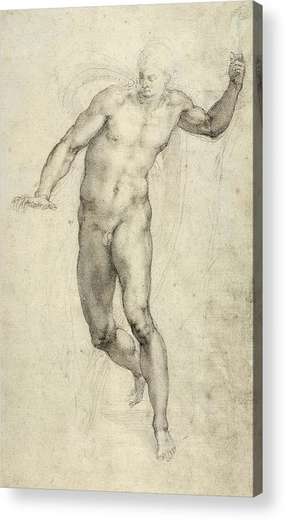 Sketch Acrylic Print featuring the painting Study For The Last Judgement by Michelangelo Buonarroti