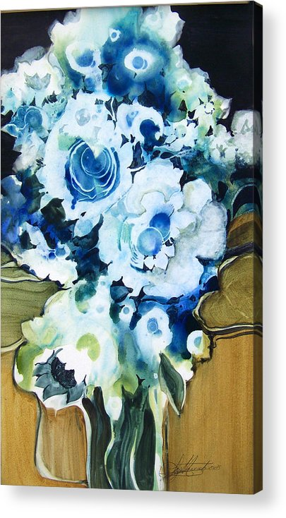 Contemporary;floral;flowers;abstract; Acrylic Print featuring the painting Contemporary Floral In Blue And White by Lois Mountz