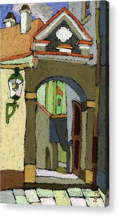 Pastel Acrylic Print featuring the painting Chesky Krumlov Old Street Latran by Yuriy Shevchuk