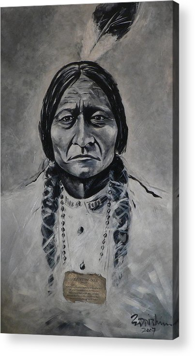 Figurative Acrylic Print featuring the painting Chief Sitting Bull by Eddie Lim