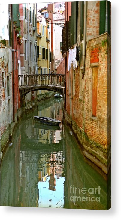 Venice Acrylic Print featuring the photograph Little Boat On Canal In Venice by Michael Henderson
