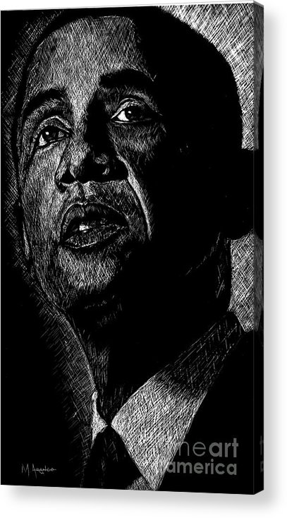 Barack Obama Acrylic Print featuring the drawing Living The Dream by Maria Arango