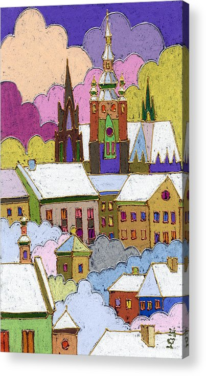 Pastel Acrylic Print featuring the painting Prague Old Roofs Prague Castle Winter by Yuriy Shevchuk