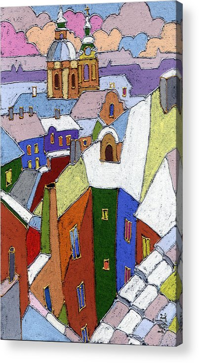 Pastel Acrylic Print featuring the painting Prague Old Roofs Winter by Yuriy Shevchuk