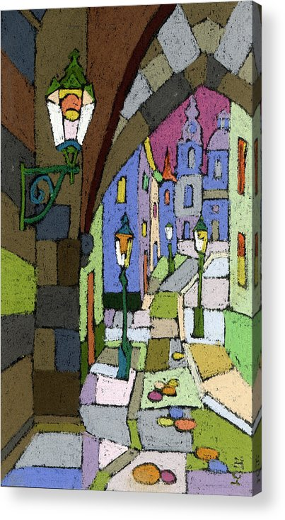 Pastel Acrylic Print featuring the painting Prague Old Street Mostecka by Yuriy Shevchuk