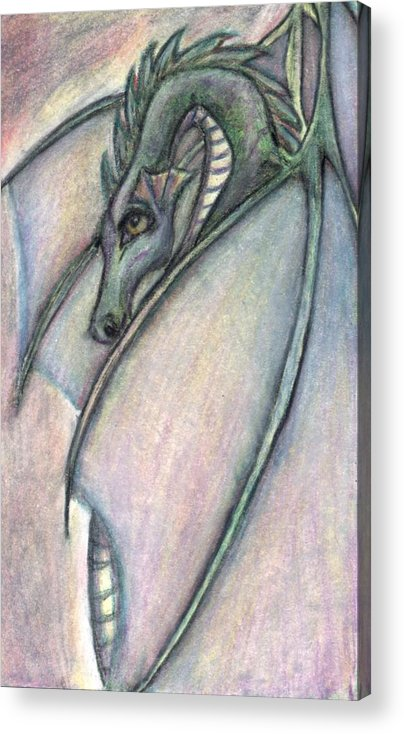 Dragon Acrylic Print featuring the drawing Protective Mother by Jennifer Skalecke