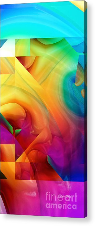 Abstract Realism Blocks Forms Female Abstract Acrylic Print featuring the digital art Inside Outside Upside Down by Carolyn Staut