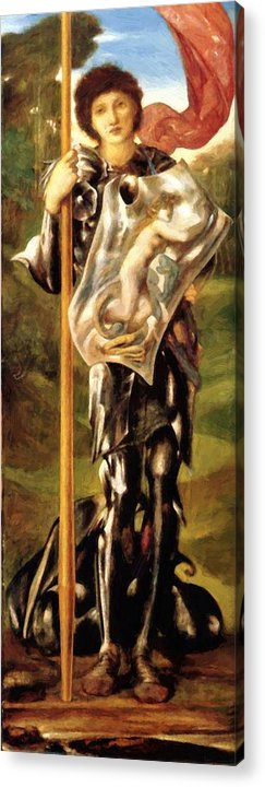 Saint Acrylic Print featuring the painting Saint George 1877 by BurneJones Edward