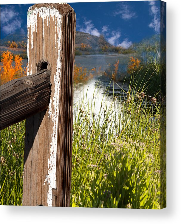Agriculture Acrylic Print featuring the photograph Landscape With Fence Pole by Gunter Nezhoda