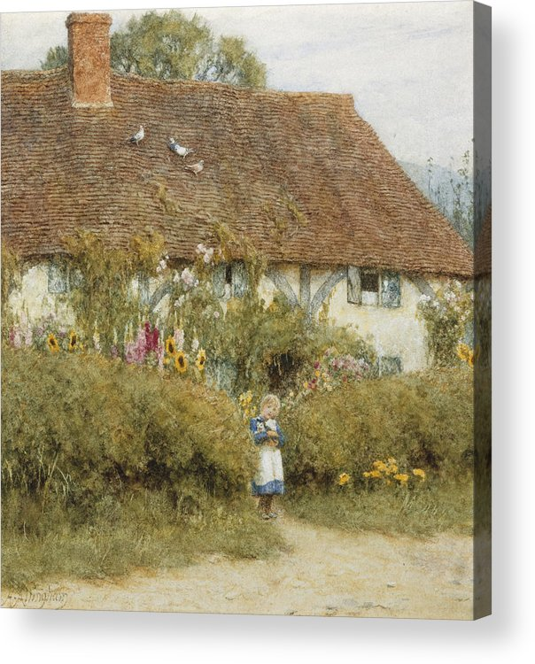 English; Landscape; C19th; C20th; Victorian; Rural; Half-timbered; Flowers; Garden; Child; Girl; Female; Sunflowers Acrylic Print featuring the painting Cottage At West Horsley Surrey by Helen Allingham