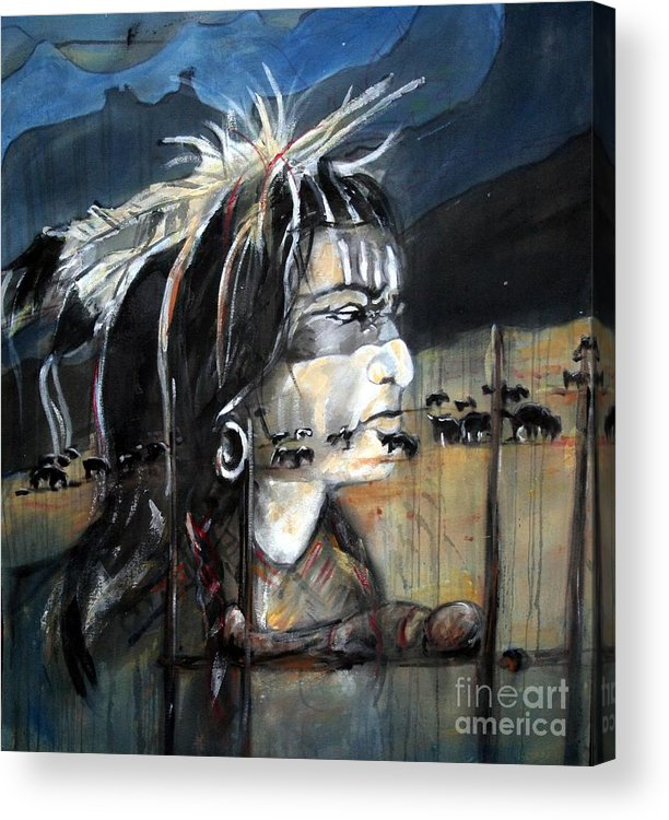 Native American Acrylic Print featuring the painting Native by Christine Chzasz