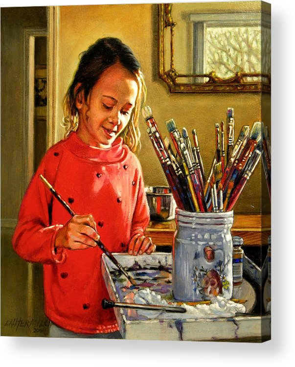 Young Girl Painting Acrylic Print featuring the painting Young Artist by John Lautermilch