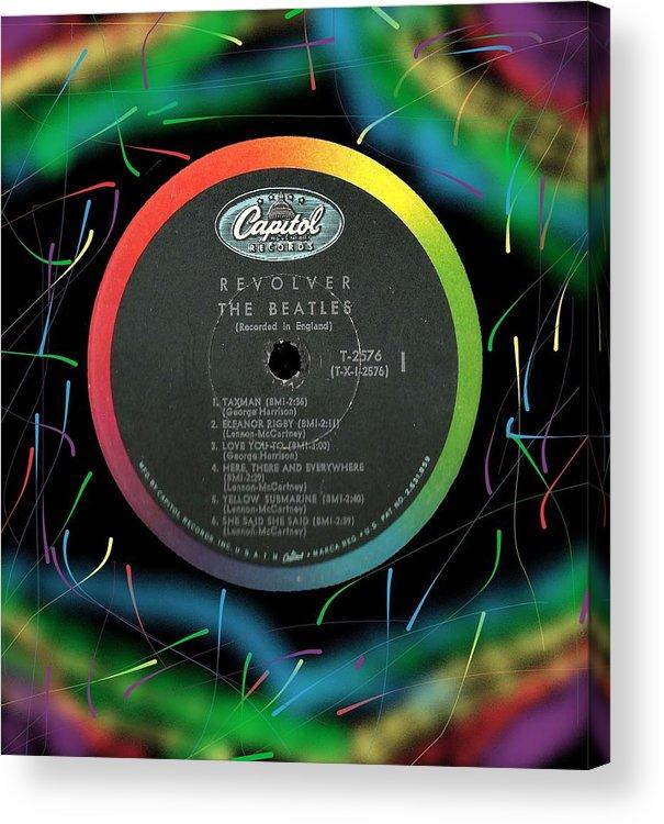 Beatles Acrylic Print featuring the digital art Beatles Revolver Rainbow Lp Label by Doug Siegel