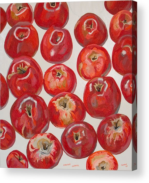 Apple Acrylic Print featuring the painting Beautiful Red Apples by Vitali Komarov