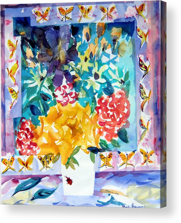 Roses Framed Prints Acrylic Print featuring the painting Butterfly Bouquet by Mindy Newman