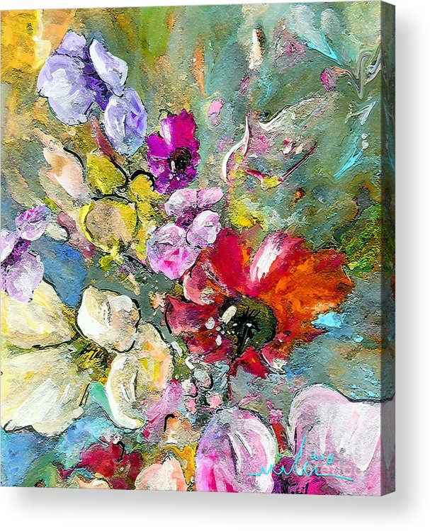 Nature Painting Acrylic Print featuring the painting First Flowers by Miki De Goodaboom