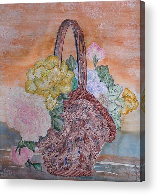 Floral Acrylic Print featuring the painting Floral Basket by John Vandebrooke