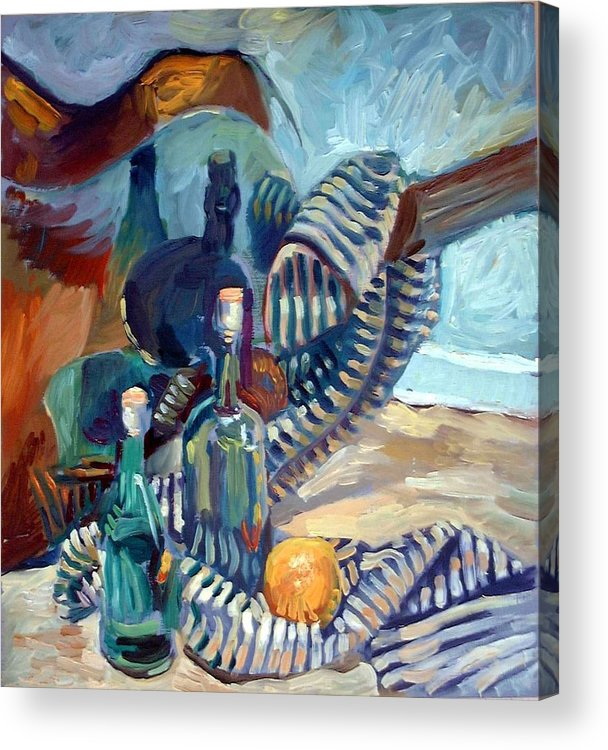 Still Life Acrylic Print featuring the painting Still Life With Guitar by Piotr Antonow