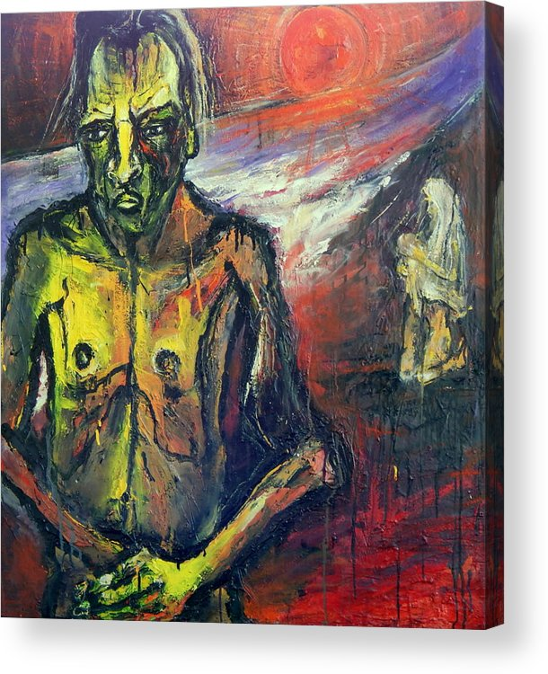 Father Acrylic Print featuring the painting Three People by Kenneth Agnello