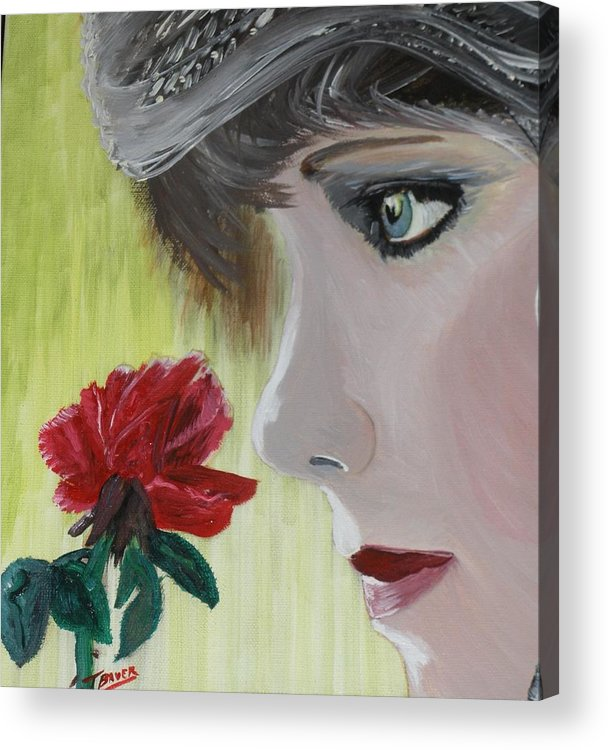 Romance Acrylic Print featuring the painting Wedding Rose by J Bauer