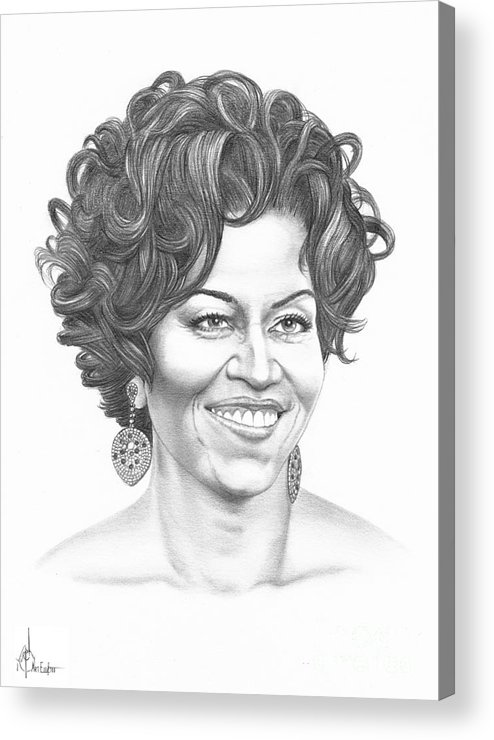 Portrait Acrylic Print featuring the drawing Michelle Obama by Murphy Elliott