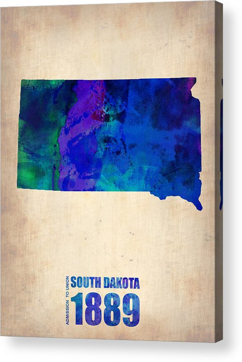 South Dakota Acrylic Print featuring the painting South Carolina Watercolor Map by Naxart Studio