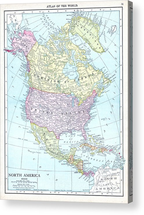 1913, North America, World Atlas Acrylic Print