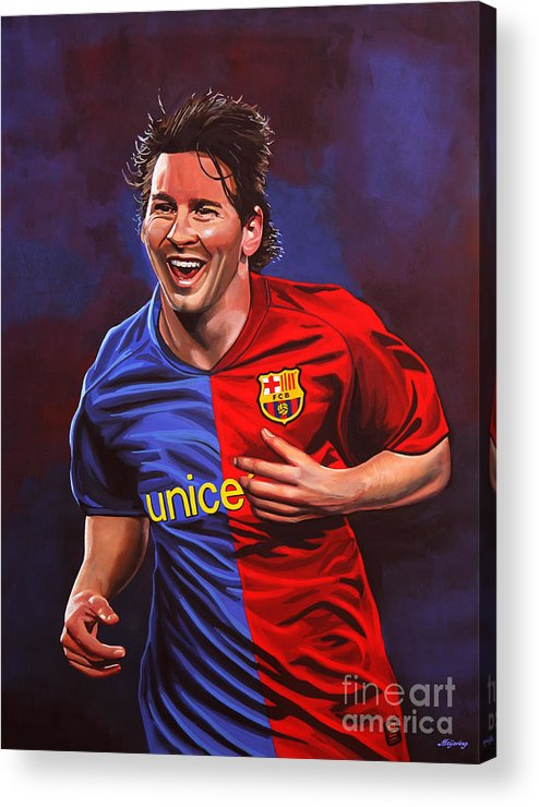 Lionel Messi Acrylic Print featuring the painting Lionel Messi by Paul Meijering