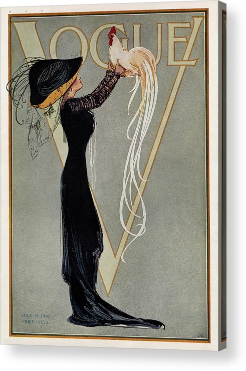 Illustration Acrylic Print featuring the photograph Vintage Vogue Cover Of Woman With Rooster by Artist Unknown