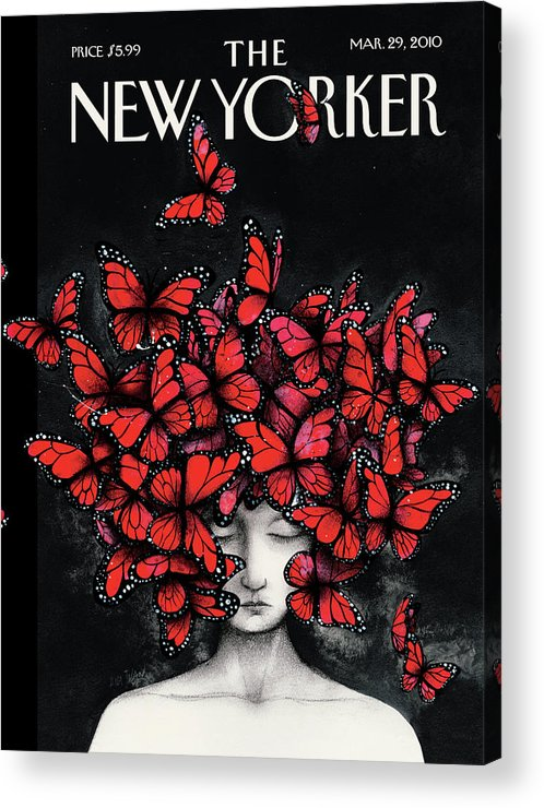 Butterflies Acrylic Print featuring the painting New Yorker March 29th, 2010 by Ana Juan